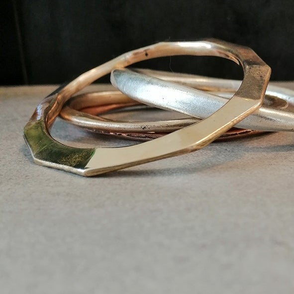 Image of Bronze faceted bangle