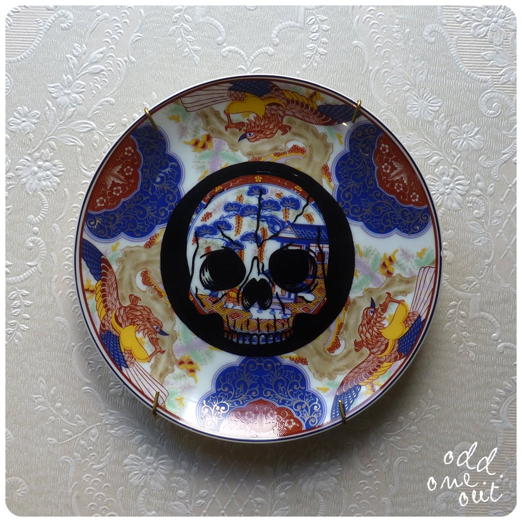 Image of Skully - Hand Painted Vintage Plate