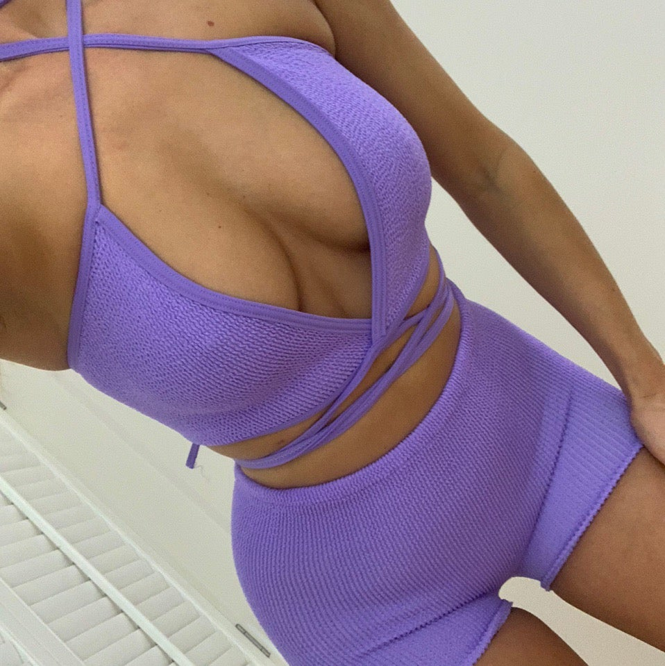 Image of Lilac Wrap Top OR Co-Ord Set
