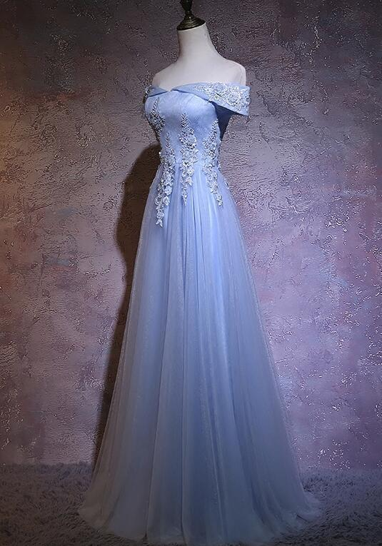 Charming Light Blue Tulle Long Off Shoulder Party Dress, New Prom Gown