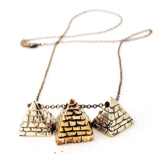 Image of 3 Pyramid Necklace two tone