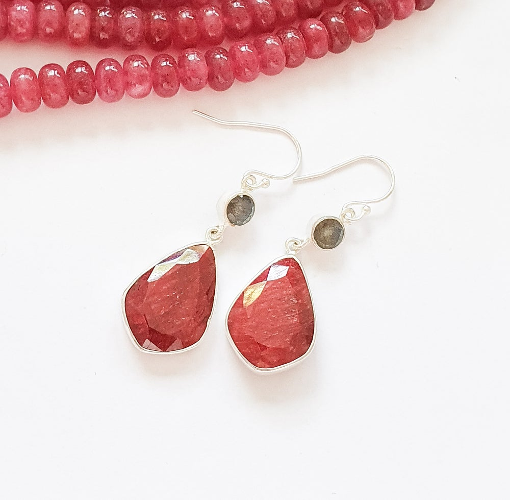 Image of Ruby and Labradorite Teardrop Earrings