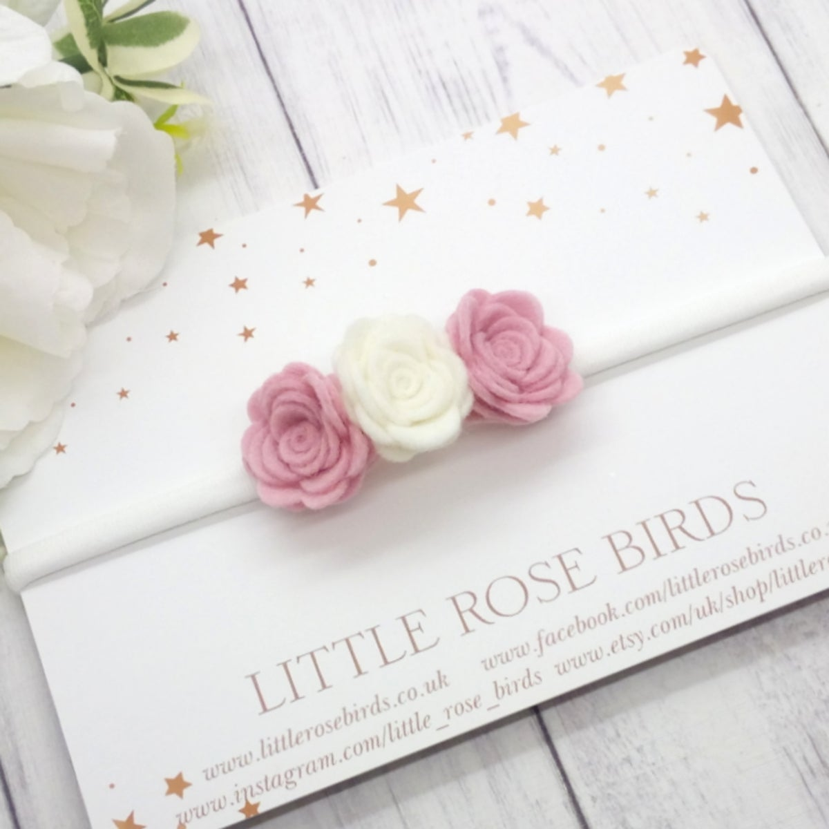 Image of CHOOSE YOUR COLOUR - 3 Small Rose Flower Headband or Clip