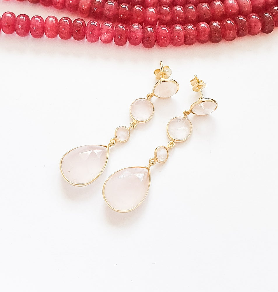 Image of Rose Quartz 4 Drop Earrings