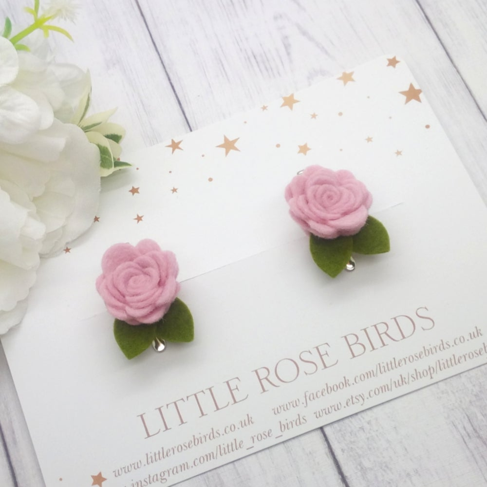 Image of CHOOSE YOUR COLOUR - SET OF 2 Small Rose Pigtail Clips - Choice of 52 Colours