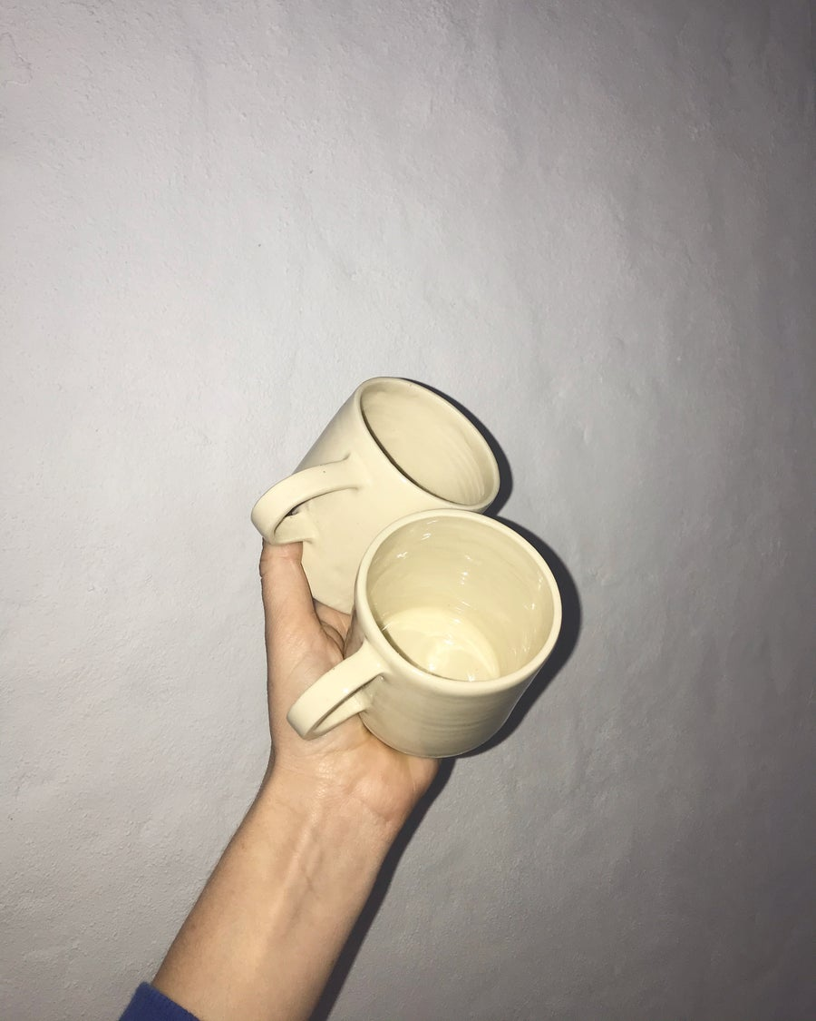 Image of Cup w Handle - Natural w Clear Glaze
