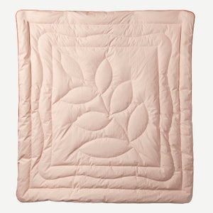 Image of Peach Silk Eiderdown - Leaf design (Double)