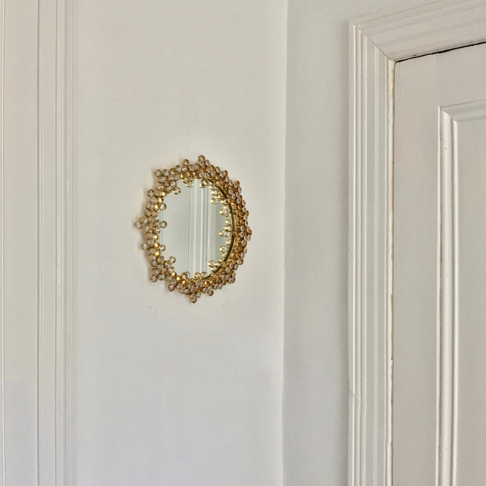 "Image of 13"" Gilt Brass and Crystal Wall Mirror Attributed to Palwa"