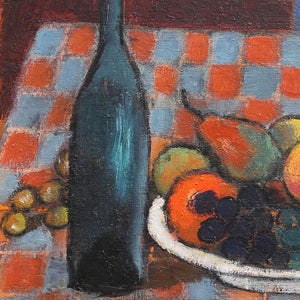 Image of 1956, Swedish Still Life Painting, 'Fruit and Wine.' LARS VIDLUND