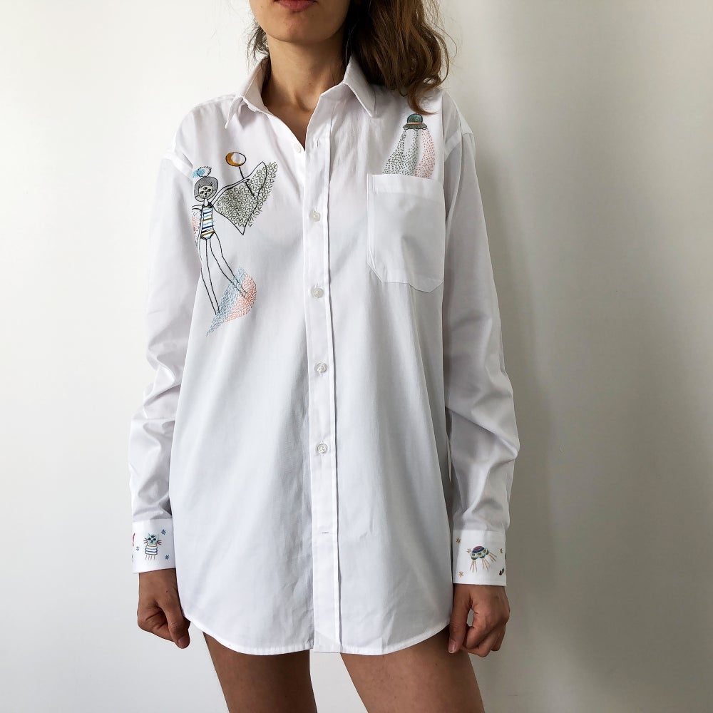 Image of Moon queen - original hand embroidery on 100% cotton men's shirt, Unisex, size Small