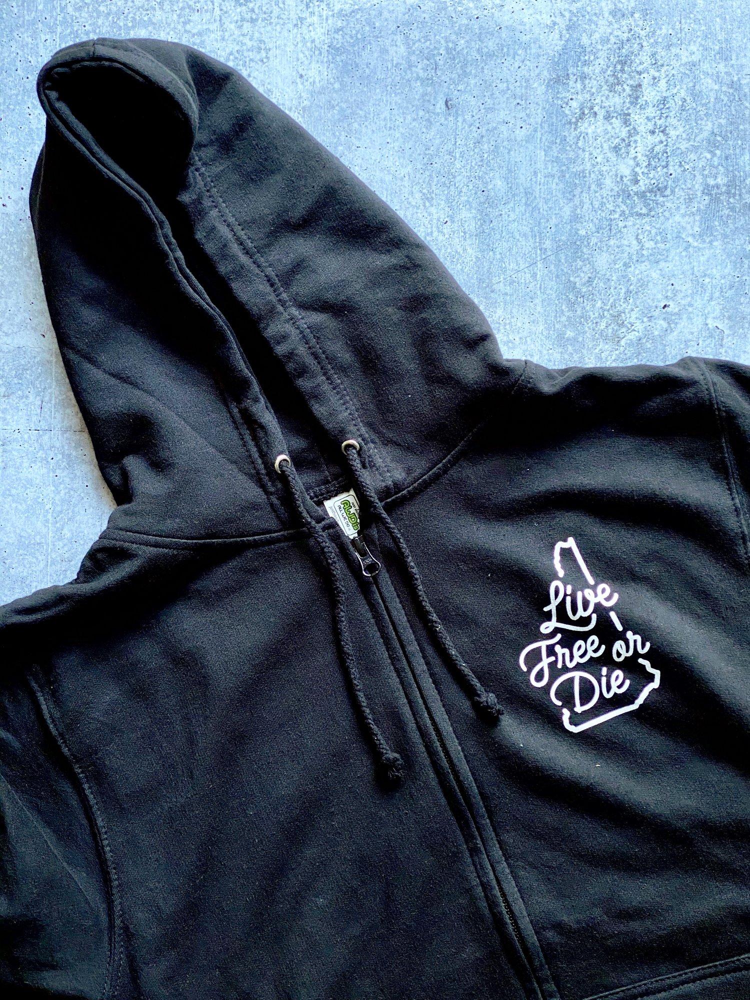 Image of Cursive LFOD zip up hoodie with pockets -black