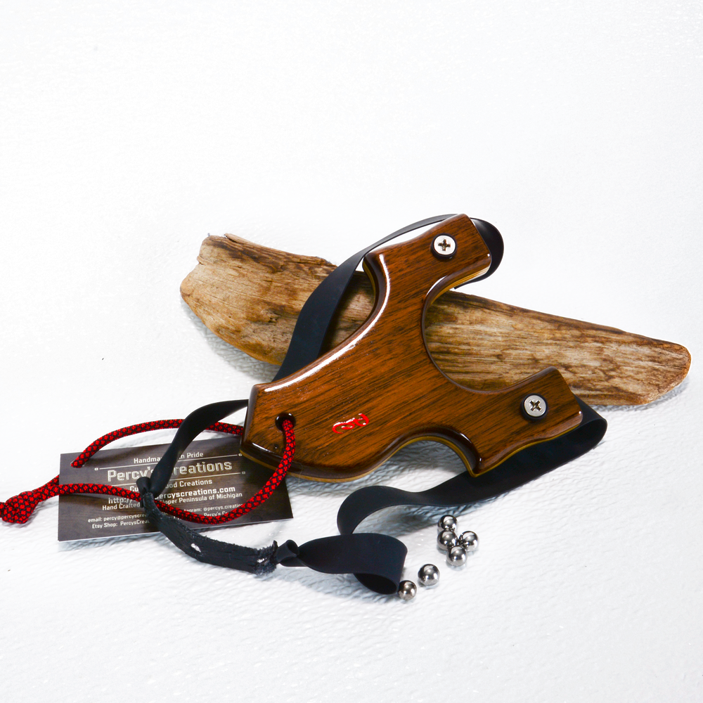 Image of Compact Wooden Walnut Sling Shot, The Little Heathen, OTF Right Handed Shooter, Wood Catapult
