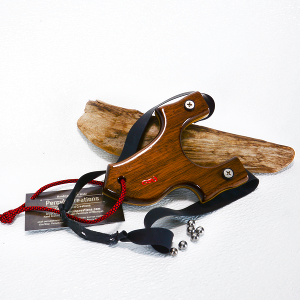 Image of Compact Wooden Walnut Sling Shot, OTF Right Handed Shooter, Hunting Gift, Wood Catapult