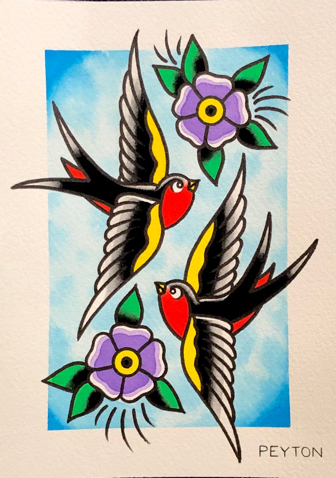 swallows and flowers painting 5x7""