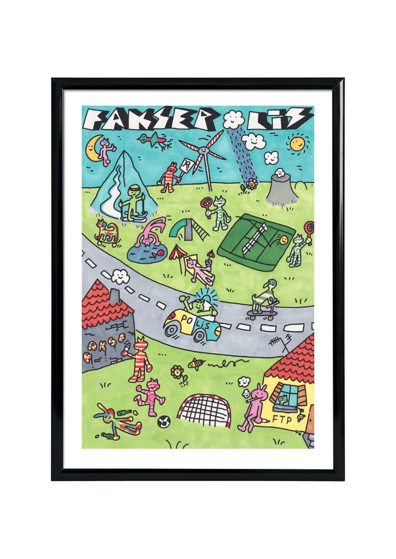 Image of FAKSEPOLIS - SCREENPRINT- HAND DRAWN - FRAMED / ADI