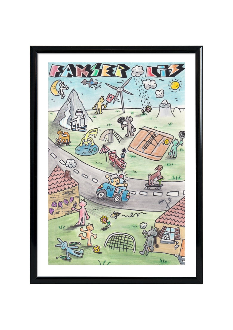 Image of FAKSEPOLIS - SCREENPRINT- HAND DRAWN - FRAMED / DONNIE