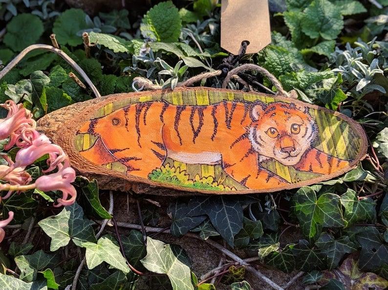 Woodburned Tiger Wallhanging