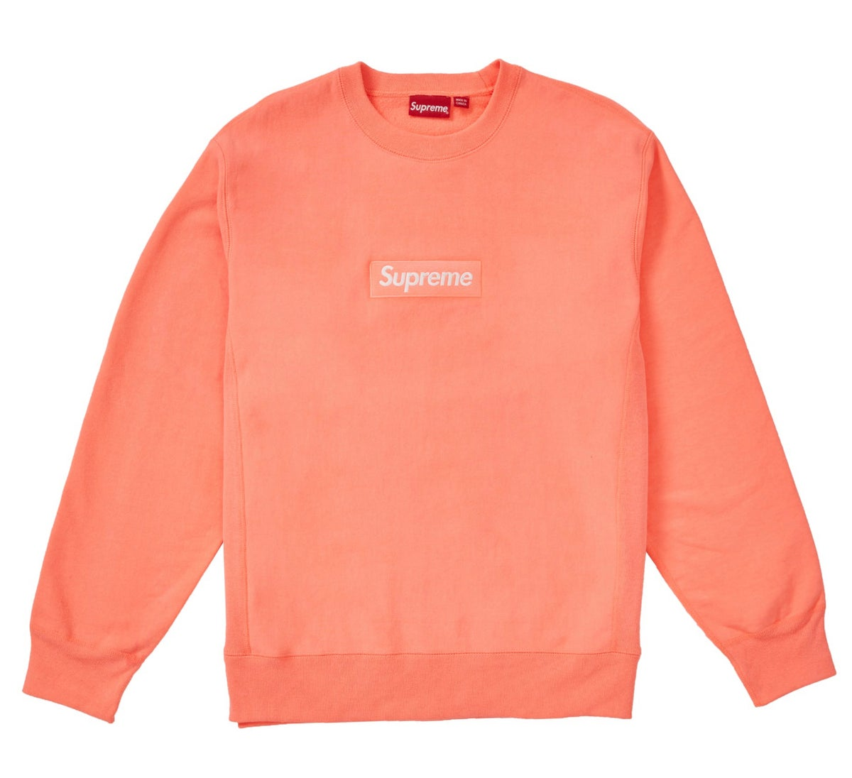 Image of Supreme Box Logo Crewneck FW18 Fluorecent Pink