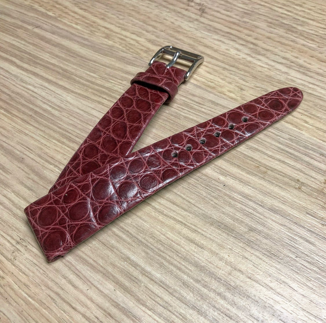 Image of Hand-rolled vintage strap - Burgundy Alligator