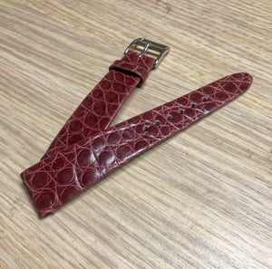 Image of Hand-rolled vintage strap - Burgundy Alligator