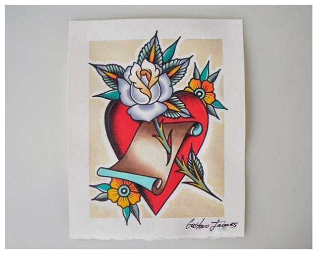 Image of Heart And Rose 8x10 original painting