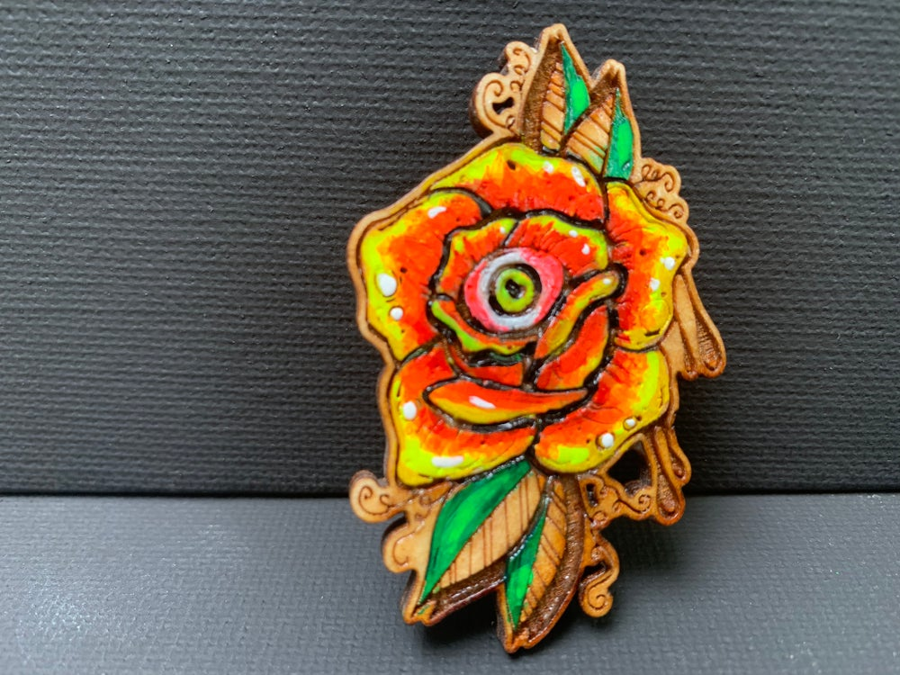 Image of Custom painted rose pin