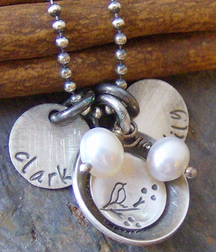 Image of Momma bird and her nest hand stamped personalized mothers name necklace