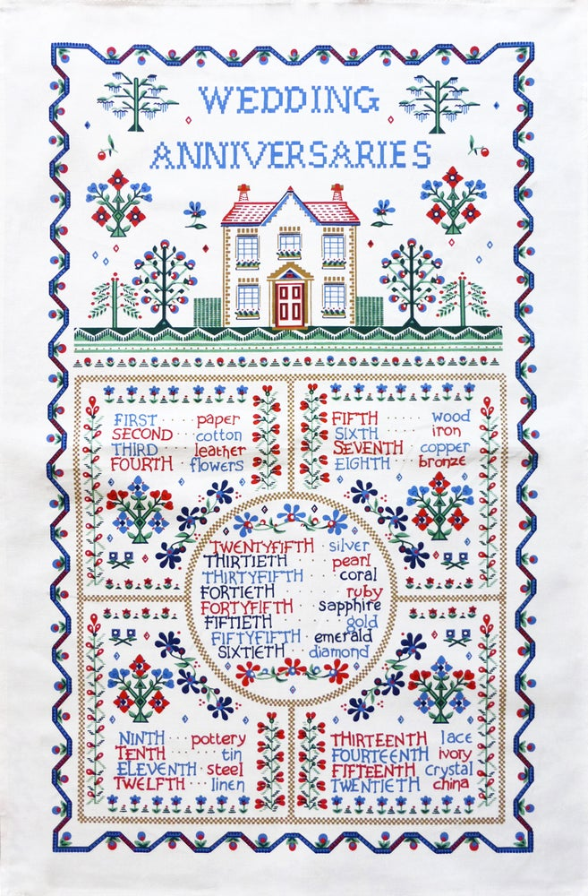 Image of Wedding Sampler Tea Towel