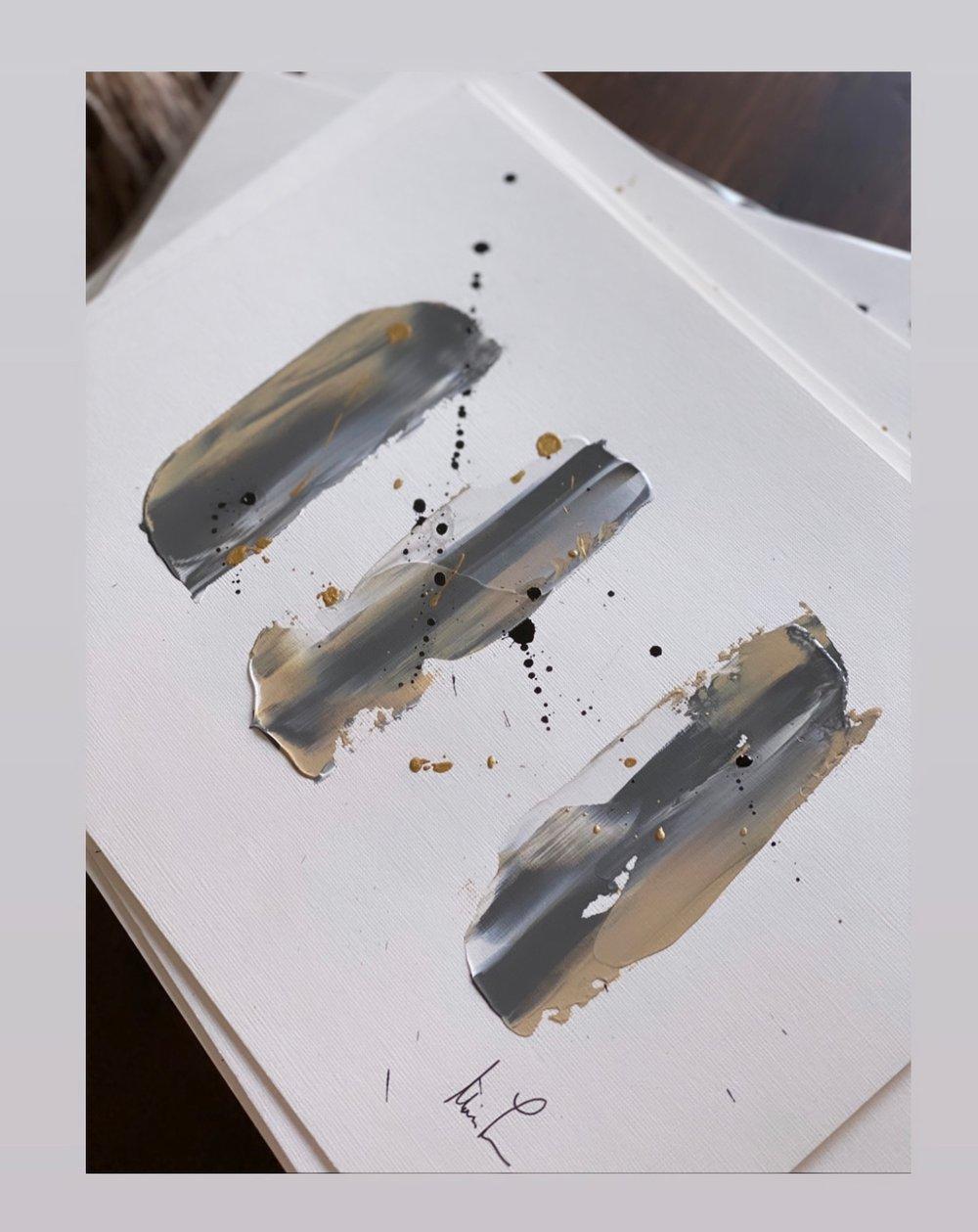 """Image of """"Gray vs Grey II"""" 9 x 12 Acrylic Paper"""