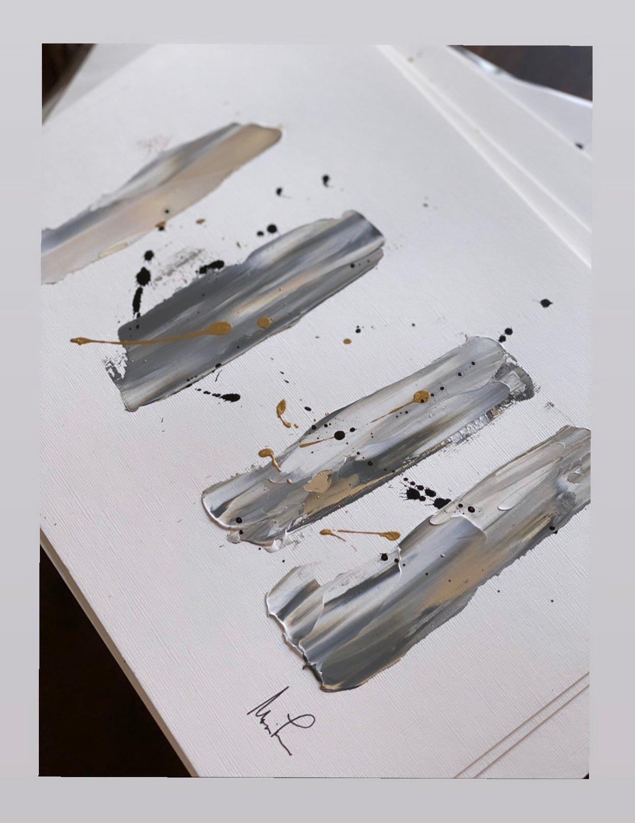 """Image of """"Gray vs Grey III"""" 9 x 12 Acrylic Paper"""