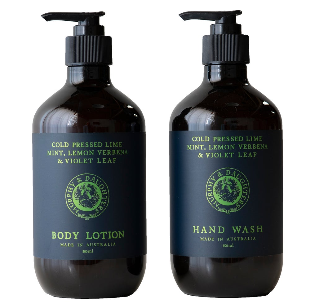 Image of Hand wash & body lotion pair of 2 pumps - Cold Pressed Lime, Mint, Lemon Verbena and Violet Leaves