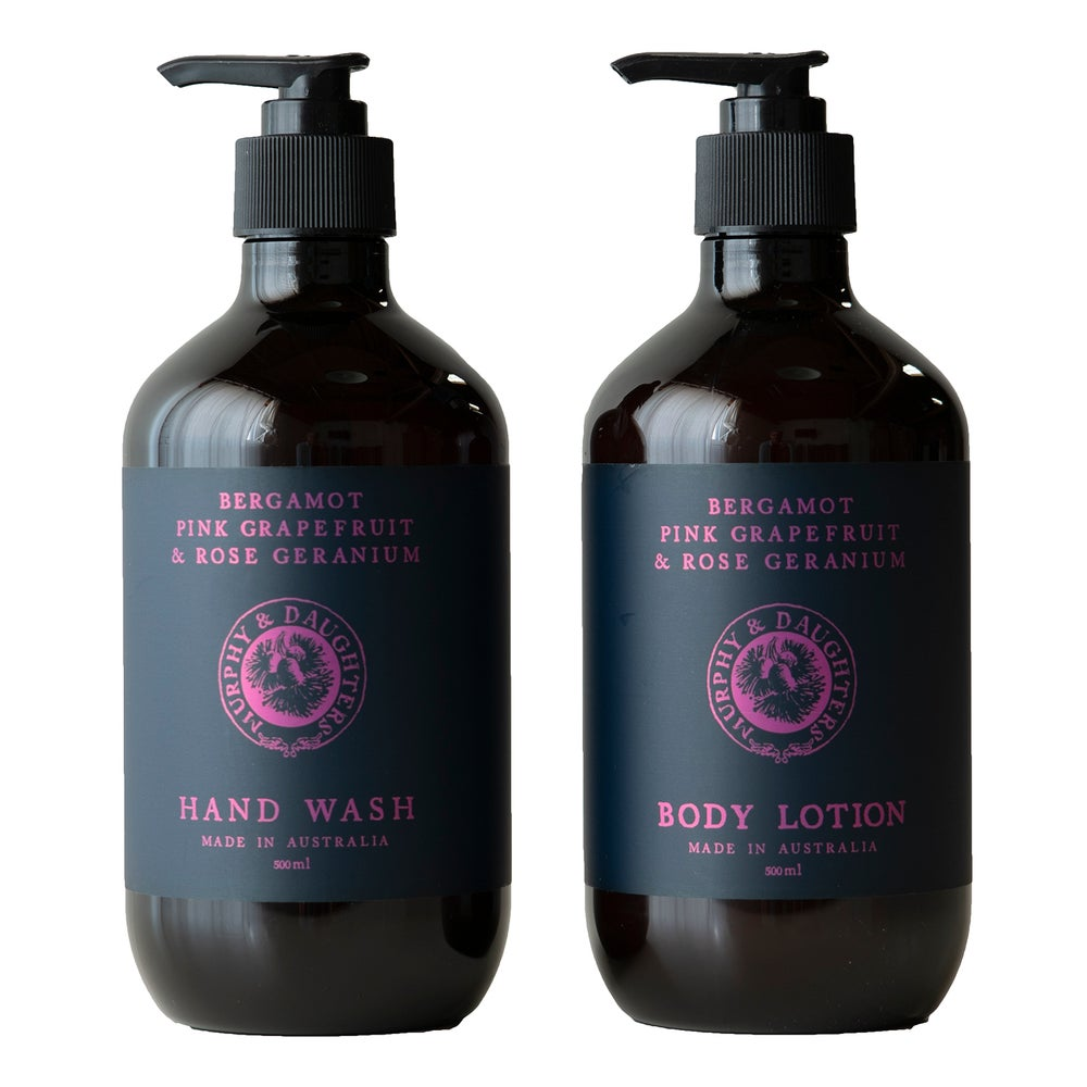 Image of Hand wash & body lotion pair of 2 pumps - Bergamot, Pink Grapefruit and Rose Geranium