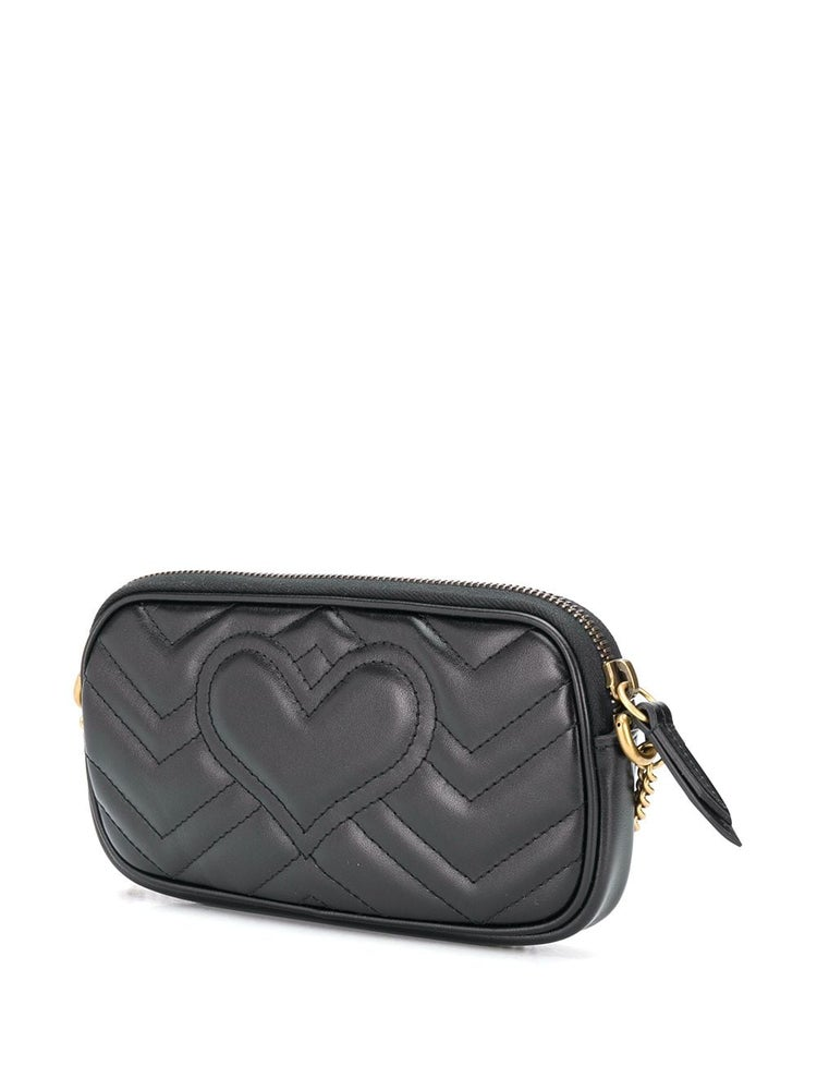 Image of Gucci Chain Wallet Marmont Gg Black Leather Cross Body Bag