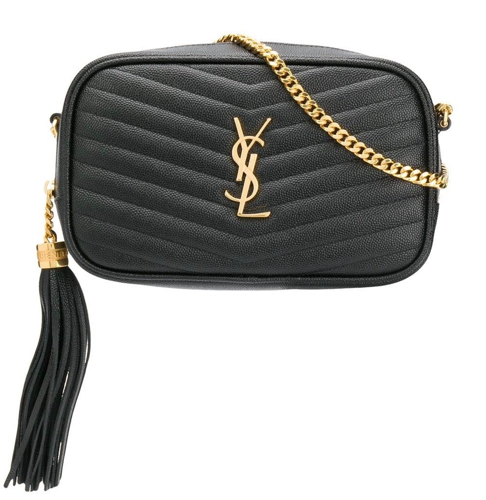 Image of Saint Laurent Mini Lou Black Leather Cross Body Bag