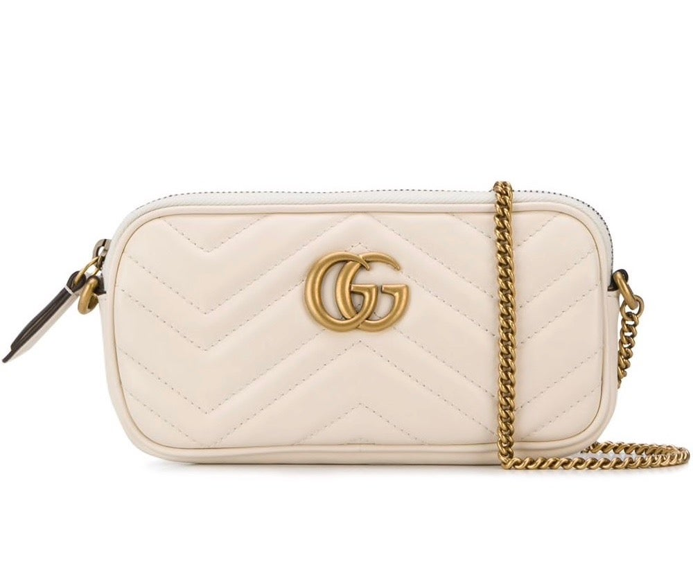 Image of Gucci Chain Wallet Marmont Gg White Leather Cross Body Bag