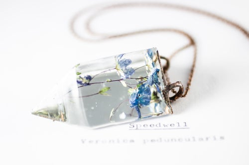 Image of Speedwell (Veronica peduncularis) - Small Copper Prism Necklace #2