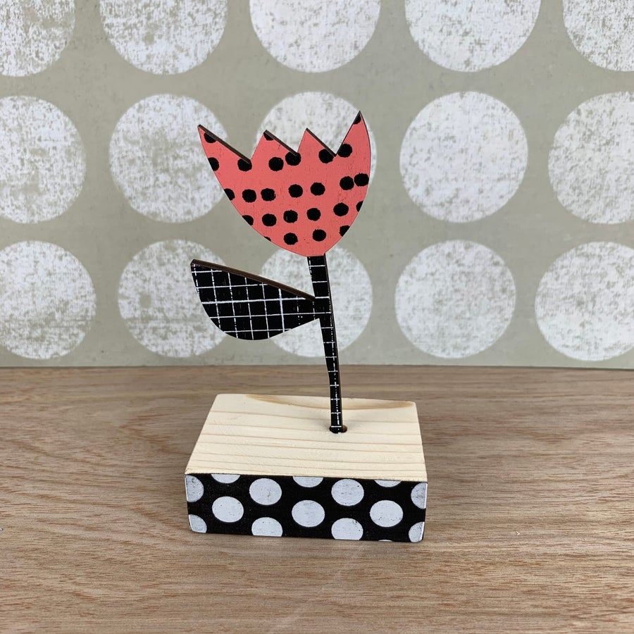 Image of Screen Printed Wooden Flower Brooch - Blush Pink with Black Polka Dots with B&W Grid