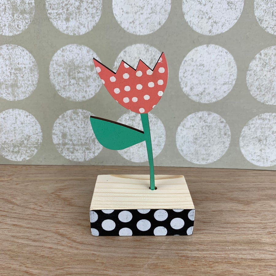 Image of Screen Printed Wooden Flower Brooch- Blush Pink with White Polka Dots and Green Leaf