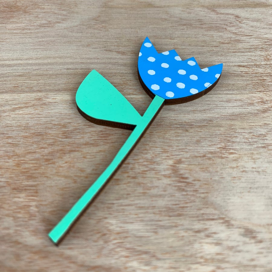 Image of Screen Printed Wooden Flower Brooch- Blue with White Polka Dots and Green Leaf