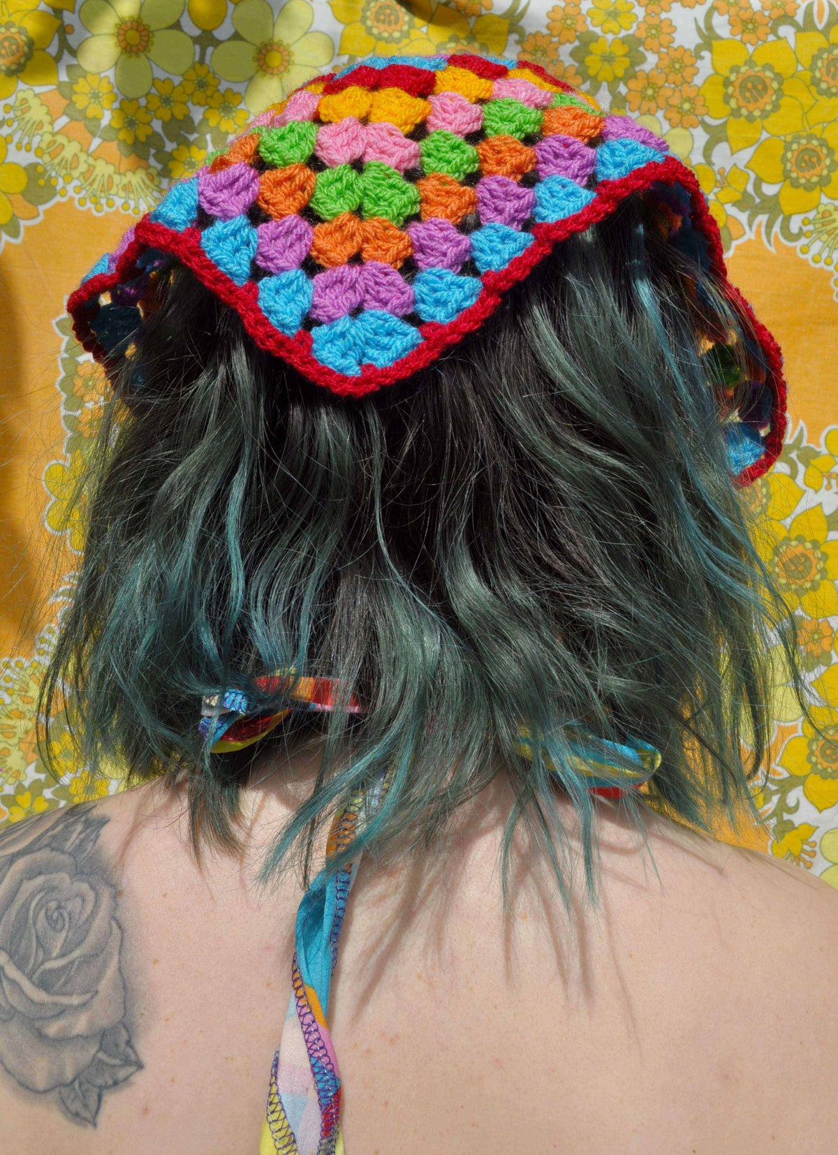 Image of Girl In The Garden Crochet Headscarf (Large)