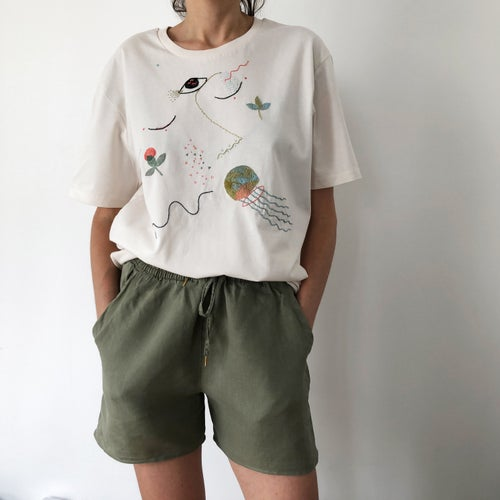 Image of Day dreaming of the sea - hand embroidered organic cotton t-shirt, Unisex, size Large