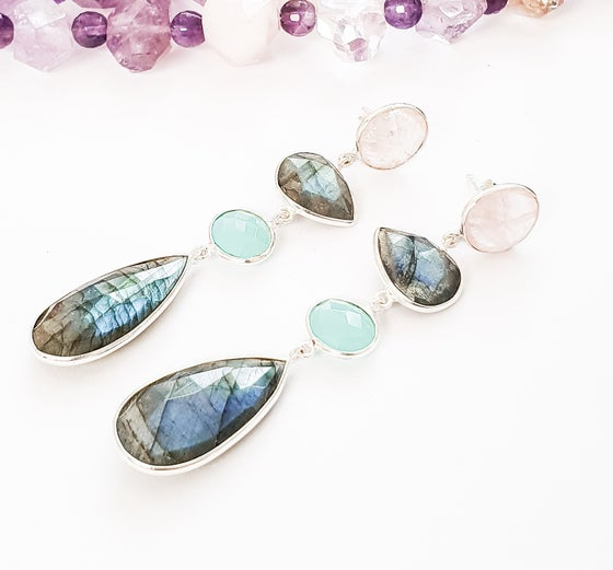 Image of Labradorite, Aqua Onyx and Rose Quartz Earrings