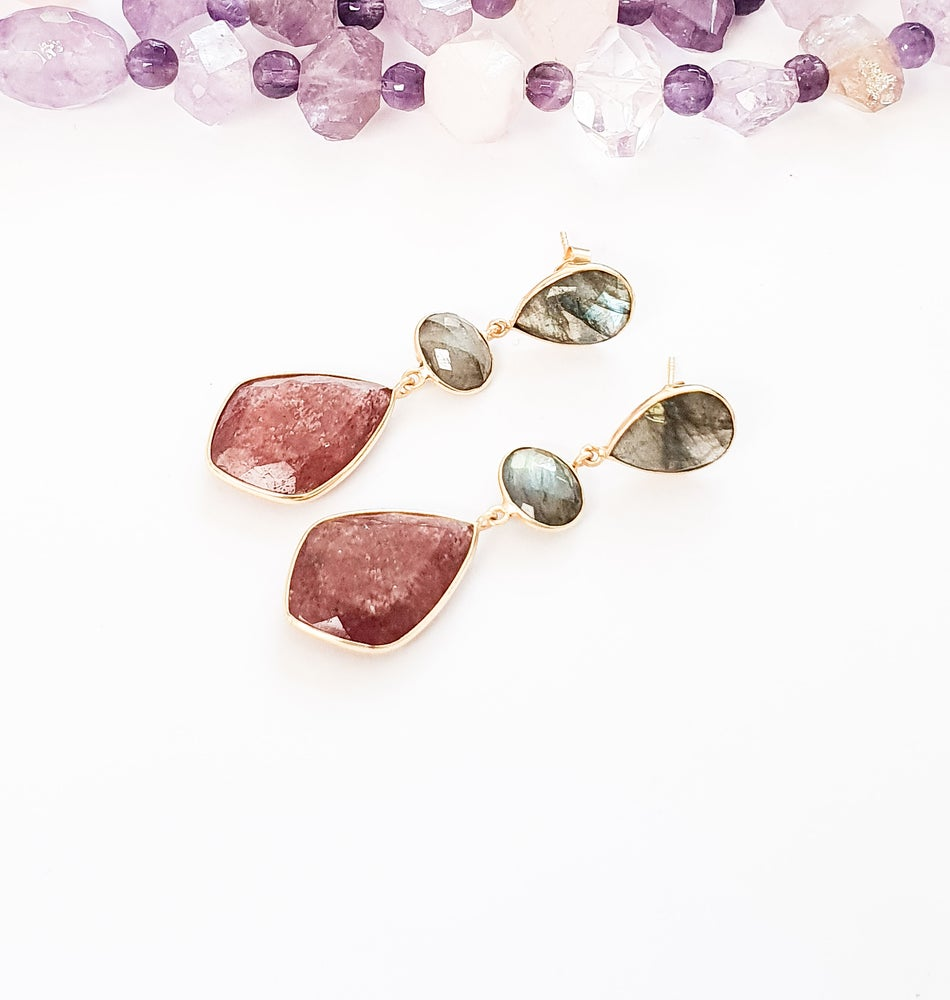 Image of Labradorite and Strawberry Quartz Statement Earrings