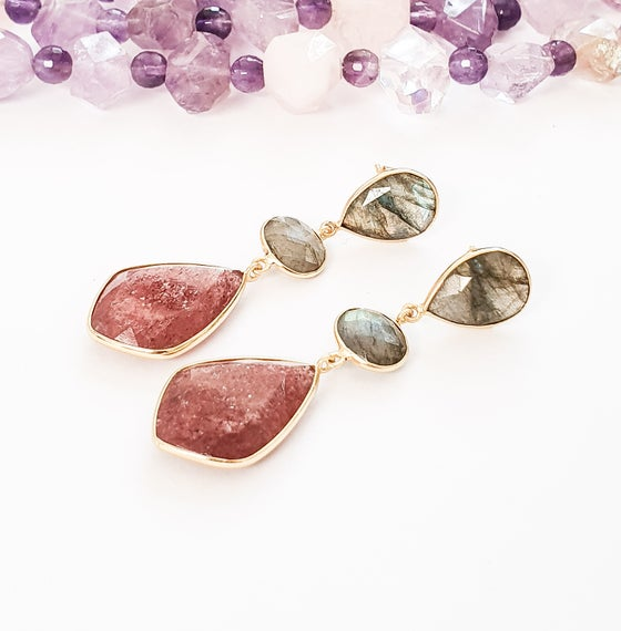Image of Labradorite and Strawberry Quartz Statement Earrings