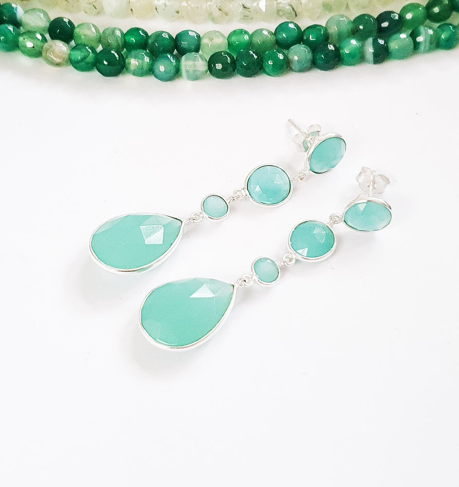 Image of Aqua Onyx 4 Stone Drop Earrings