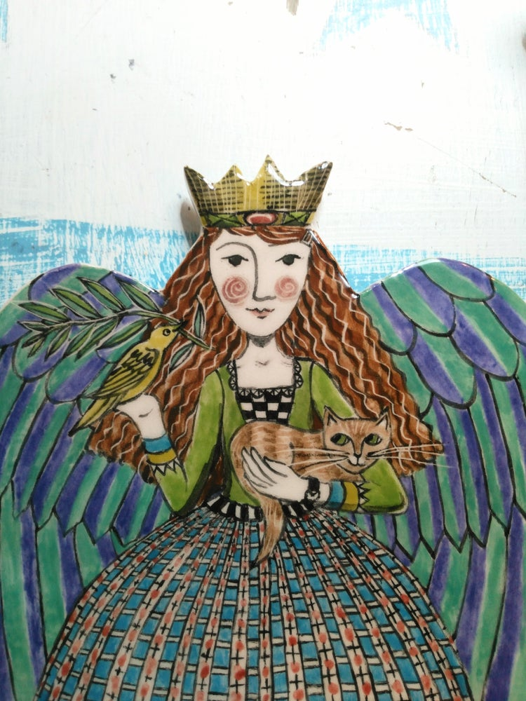 Image of Cassandra the Angel with Bird and Cat