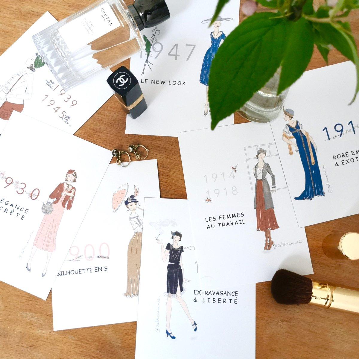 Image of Illustrations Mode 1900-1950 1 affiche + 8 cartes postales