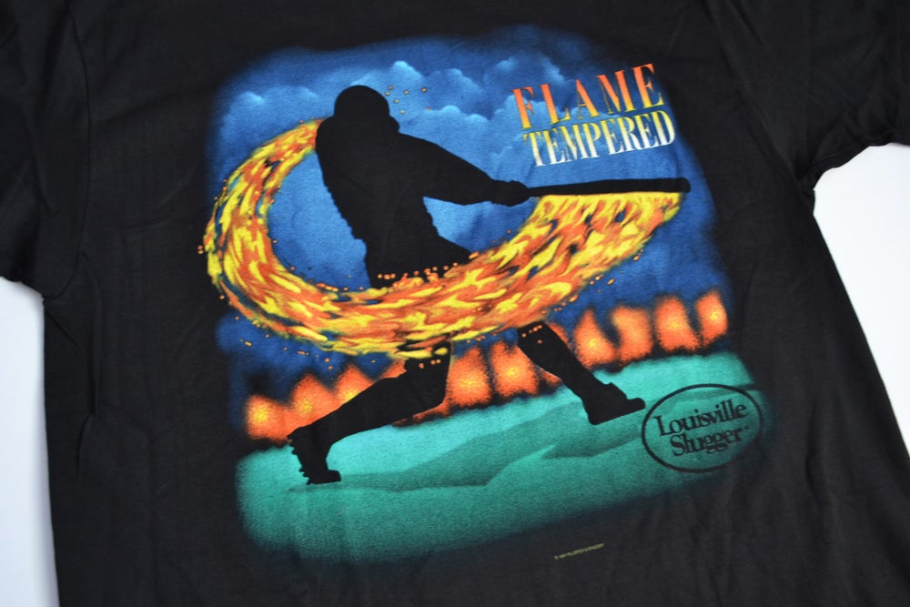 Image of Vintage 1994 Louisville Slugger Flame Tempered Wooden Bat T-Shirt Sz.XL