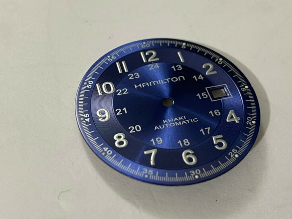 Image of NEW HAMILTON KHAKI GENTS WATCH DIAL,BLUE--FOR 2824-2 MOVT