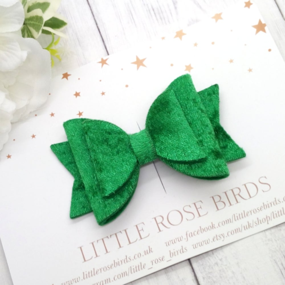 Image of Green Velvet Bow - Choice of Headband or Clip